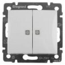 Выключатель двухклавишный с подсветкой (белый)