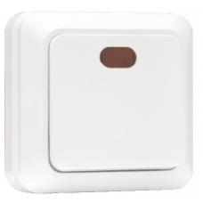 Выключатель 1-клавишный с индикатором «Рим», 10 А, белый