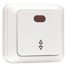 Выключатель проходной 1-клавишный с индикатором «Рим», 10 А, белый