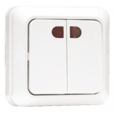 Выключатель 2-клавишный с индикатором «Рим», 10 А, белый