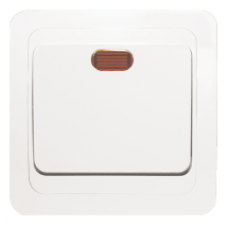 Выключатель 1-клавишный с индикатором «Лондон», 10 А, белый, бежевый