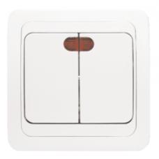 Выключатель 2-клавишный с индикатором «Лондон», 10 А, белый, бежевый