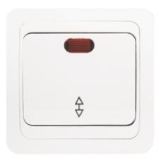 Выключатель проходной 1-клавишный с индикатором «Лондон», 10 А, белый, бежевый