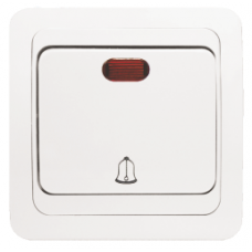 Кнопка звонка с индикатором «Лондон»,  10 А, белый, бежевый
