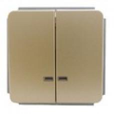 Механизм выключателя двухклавишного,(зеленый СИ), цвет золото